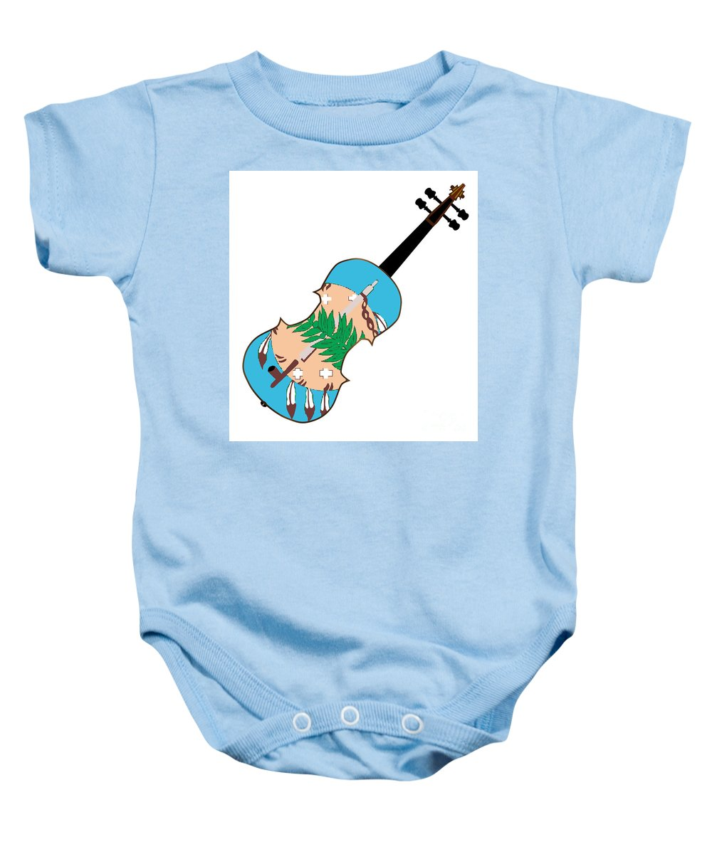 Violin Baby Onesie featuring the digital art Oklahoma State Fiddle by Bigalbaloo Stock