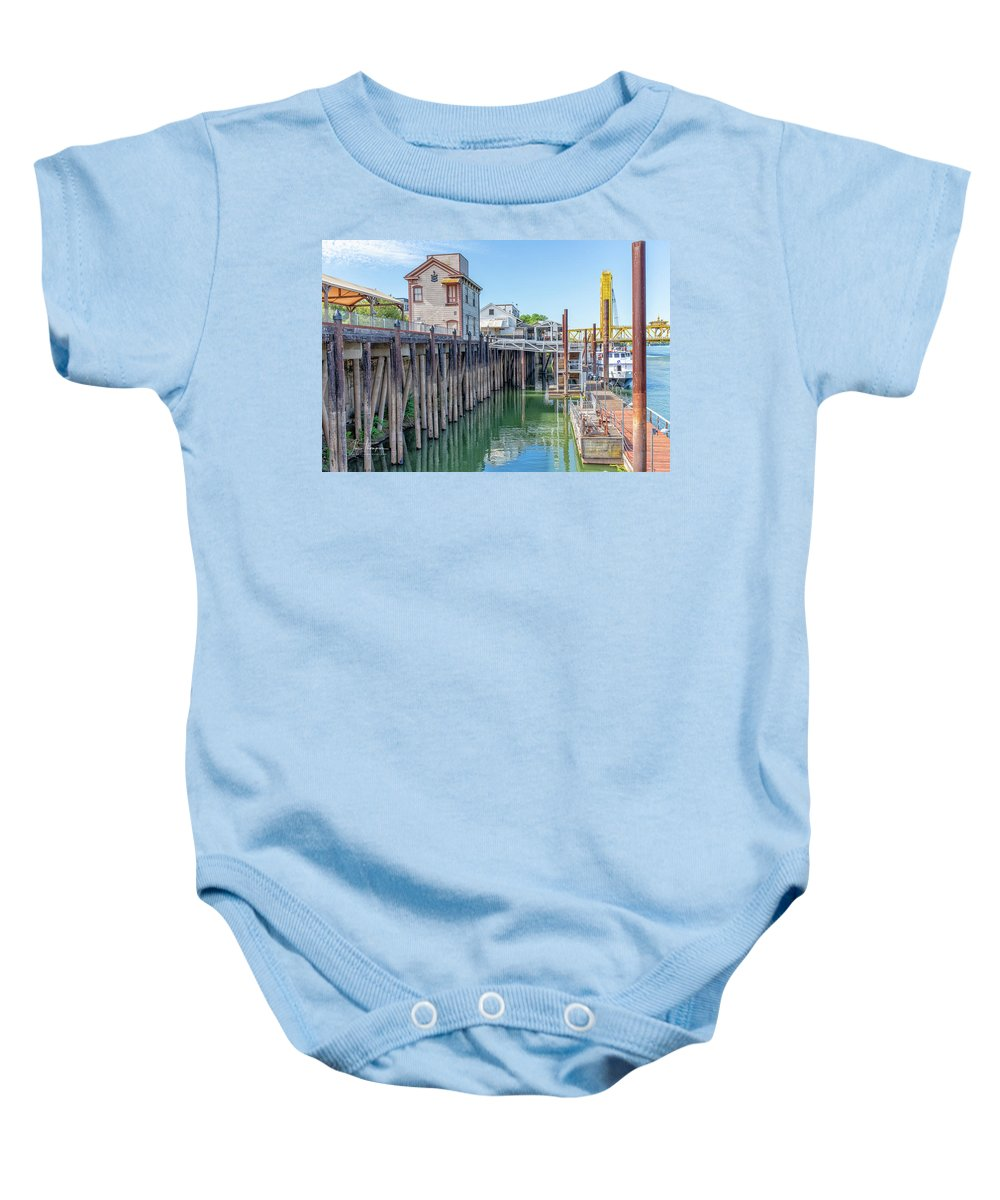 Old Town Sacramento Baby Onesie featuring the photograph Old Sacramento Waterfront by Jim Thompson