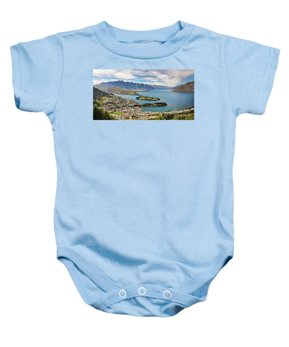 New Zealand Baby Onesie featuring the photograph Queenstown by Delphimages Photo Creations