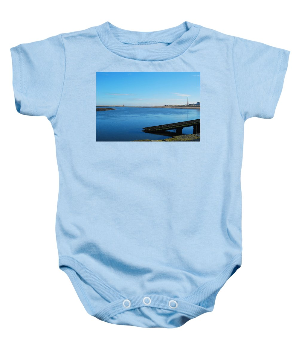 Spittal Baby Onesie featuring the photograph River Tweed Estuaryto Spittal, Pier With Lighthouse And Chimney by Victor Lord Denovan