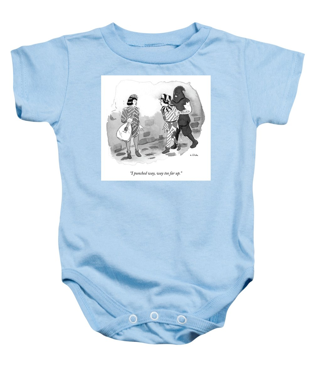 """""""i Punched Way Baby Onesie featuring the drawing Too Far Up by Emily Flake"""