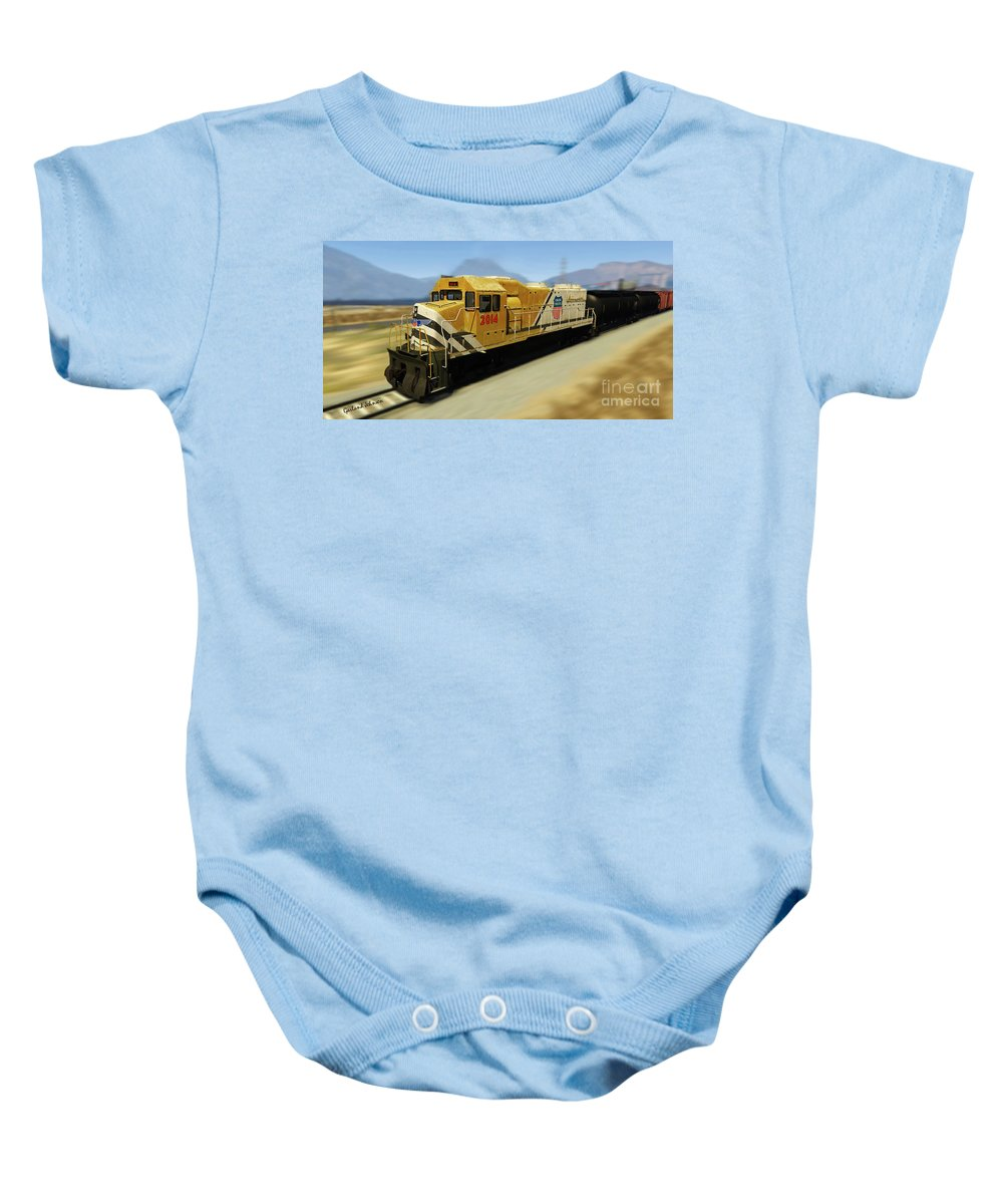 Train Baby Onesie featuring the photograph Union Pacific 2014 At Work by Garland Johnson