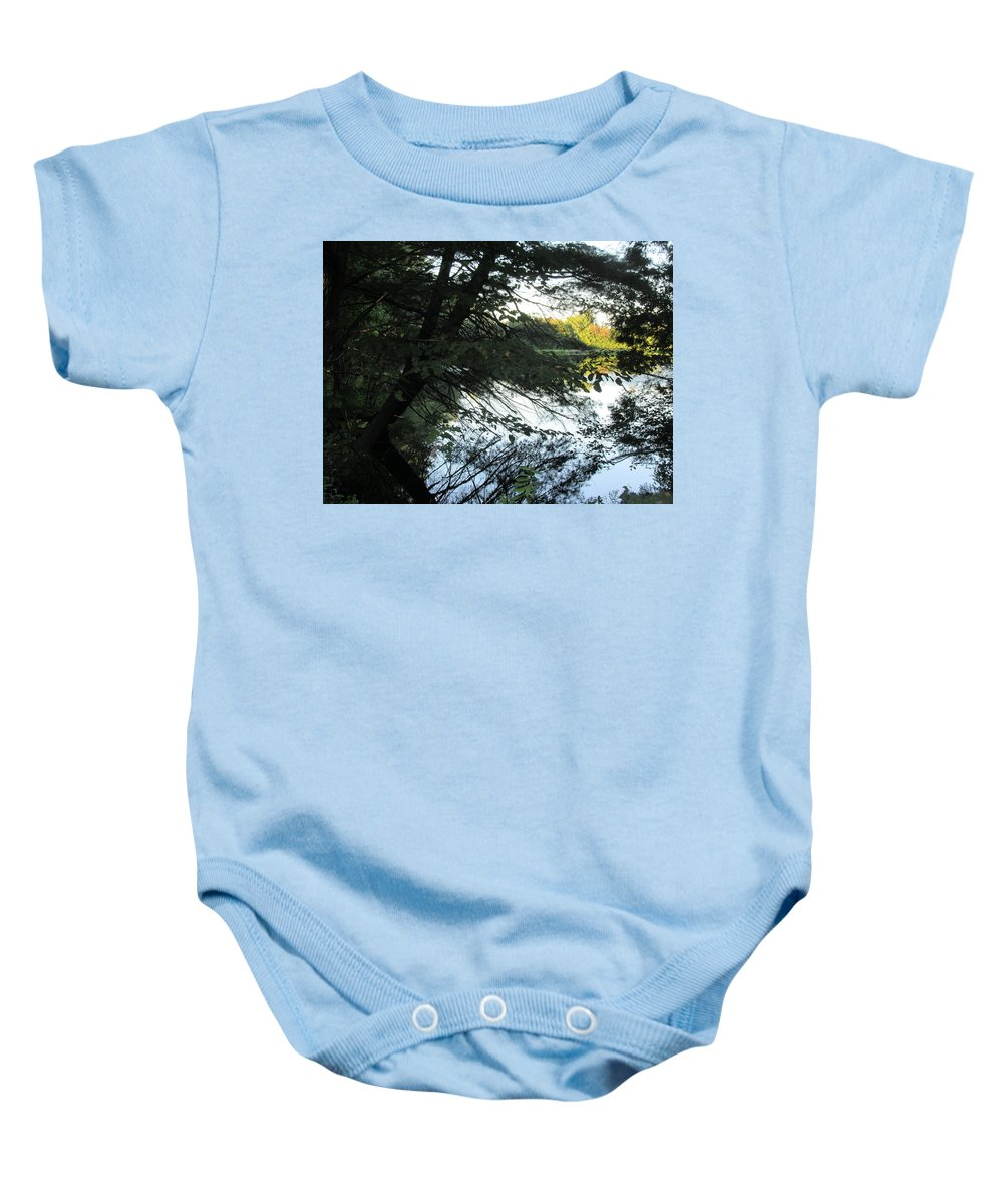 View Baby Onesie featuring the photograph View Of The Lake Through The Branches by Lyssjart Sj