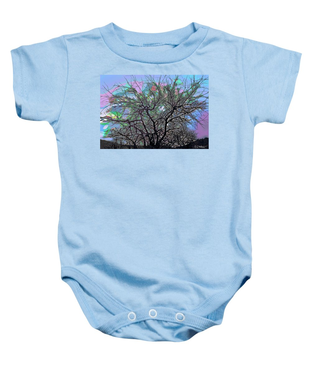 Tree Baby Onesie featuring the digital art Wasteway Willow 08 by Bruce Whitaker