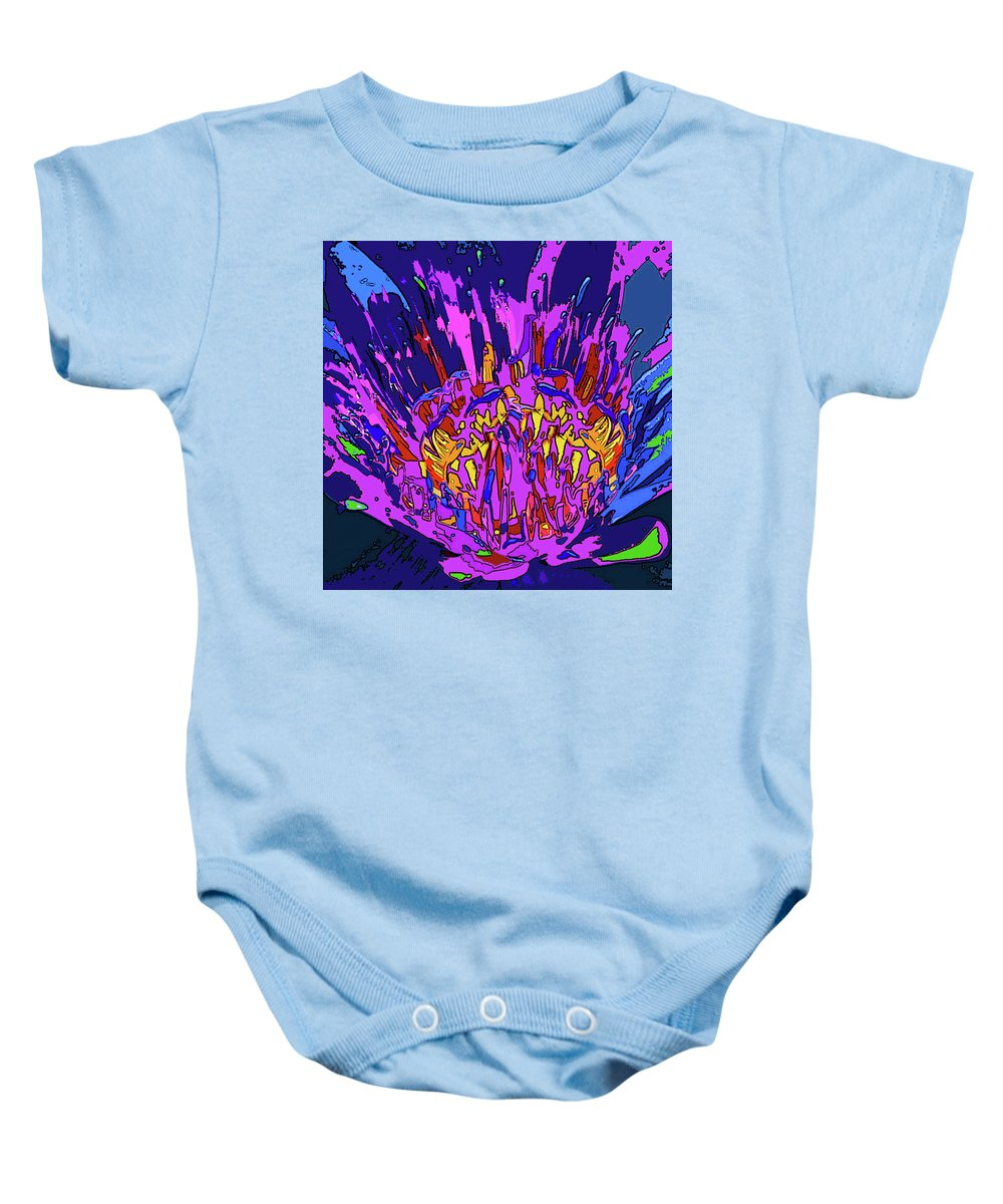 Abstract Flower Baby Onesie featuring the digital art Wild Flower by Rafael Serur