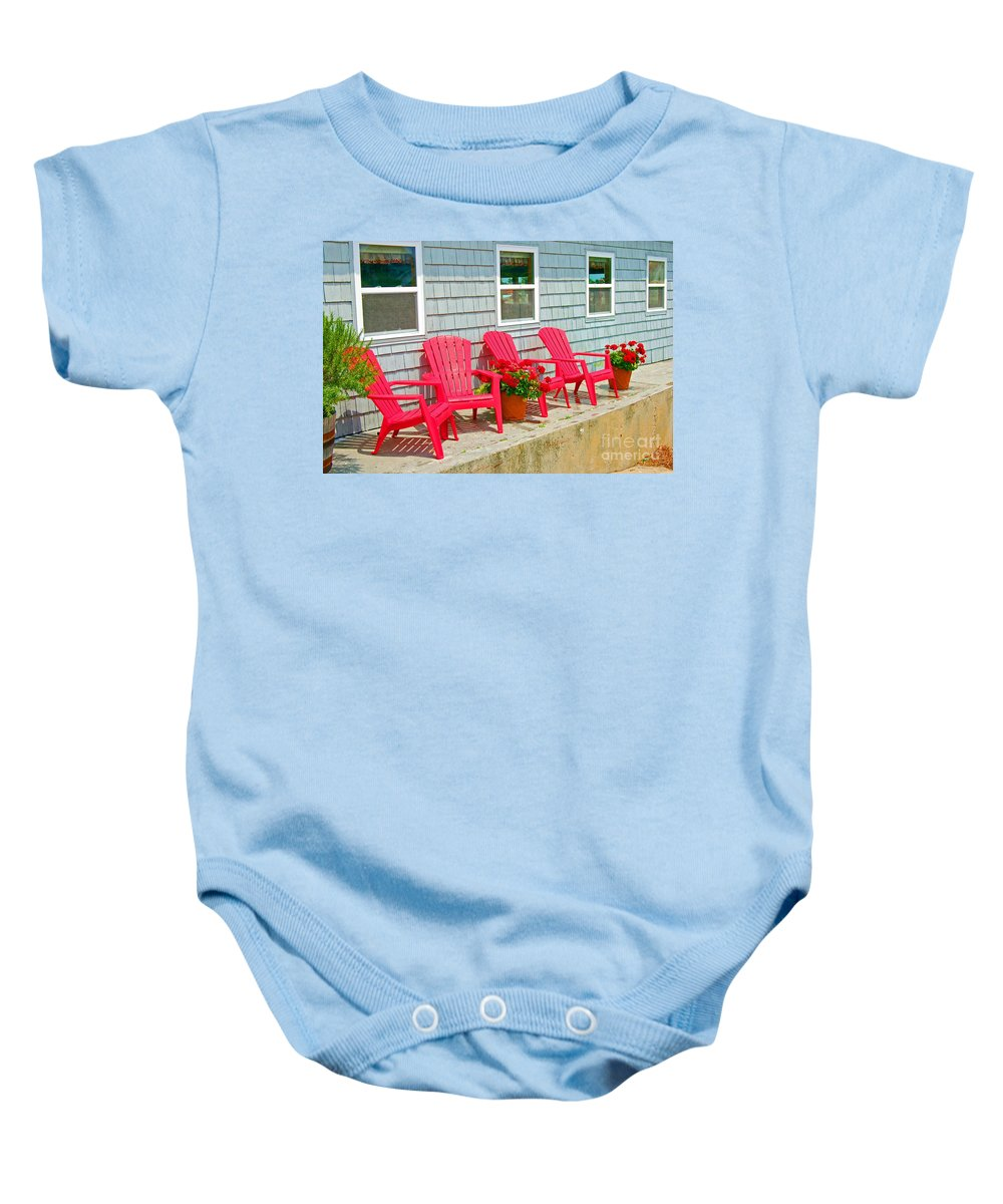 Red Baby Onesie featuring the photograph Red Chairs by Debbi Granruth