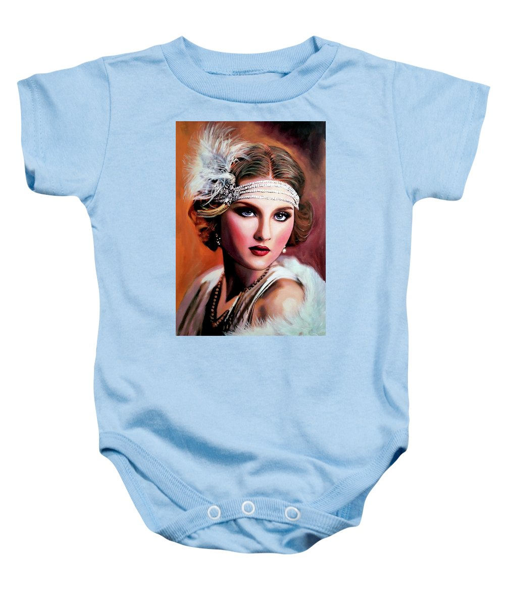 Women Baby Onesie featuring the painting 20's Women 2 by Jose Manuel Abraham