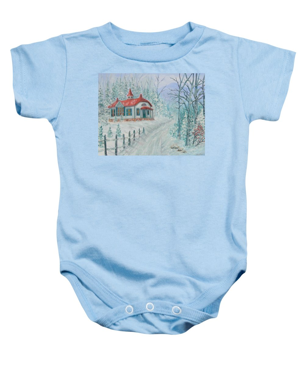 Christmas Scene Baby Onesie featuring the painting A Winters Day by Ben Kiger