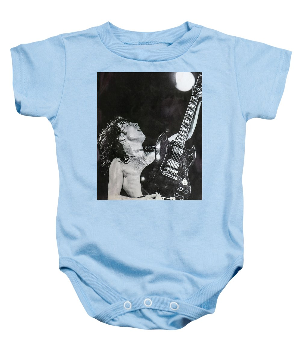 Angus Young Baby Onesie featuring the photograph Angus Young 1981 ACDC by Leigh Henningham
