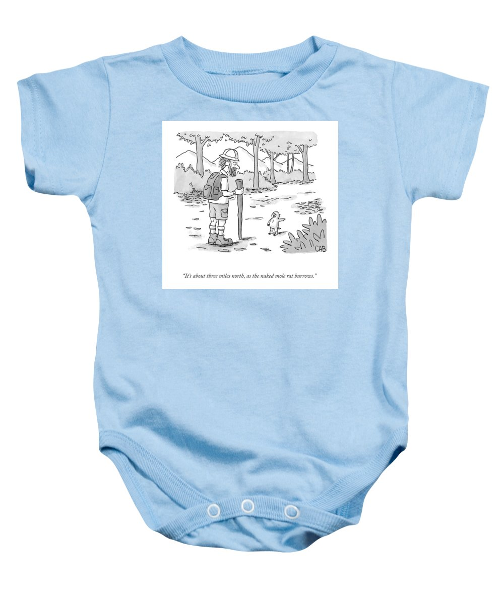 It's About Three Miles North Baby Onesie featuring the drawing As The Naked Mole Rat Burrows by Adam Cooper