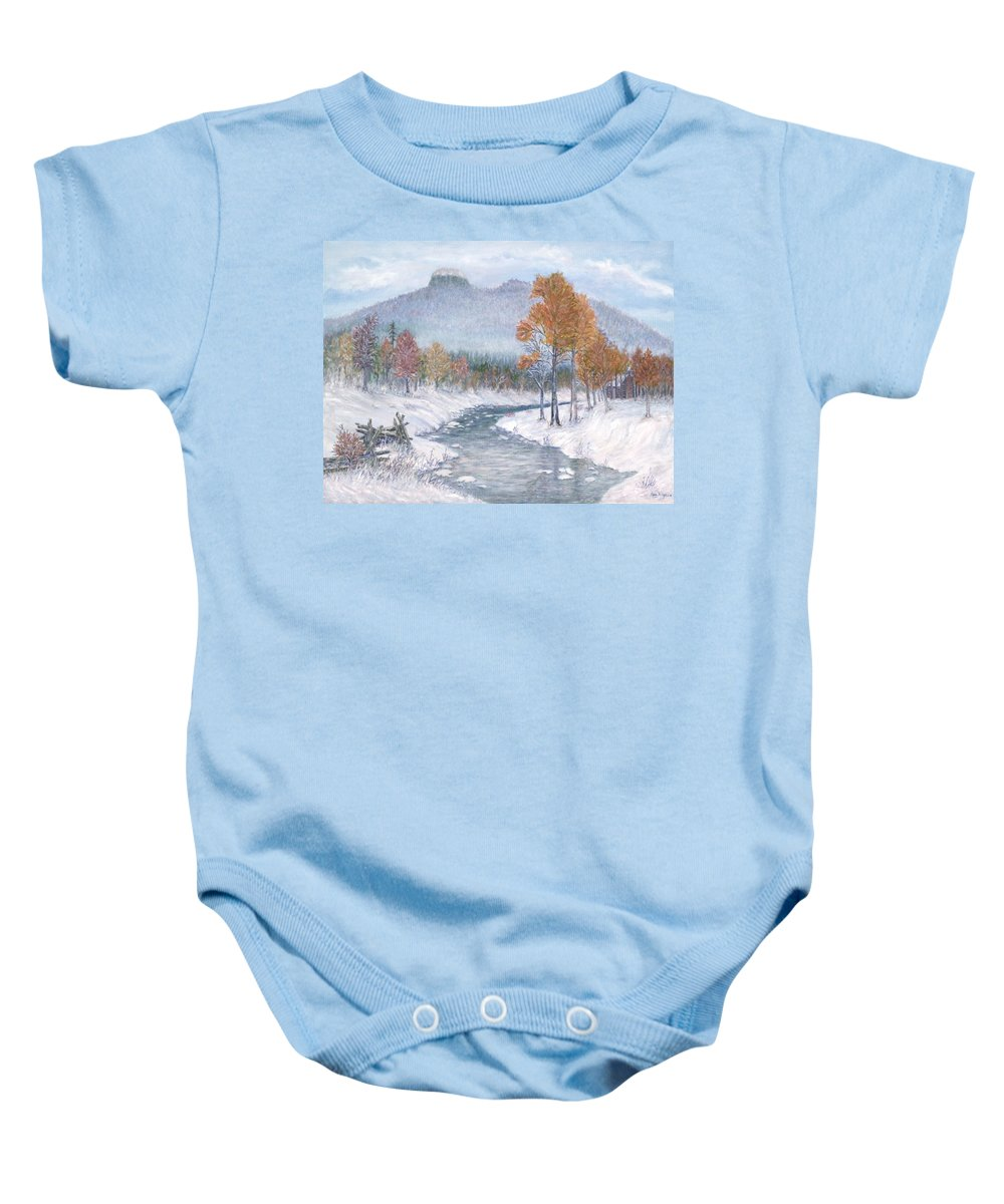 Snow Baby Onesie featuring the painting Autumn Snow by Ben Kiger