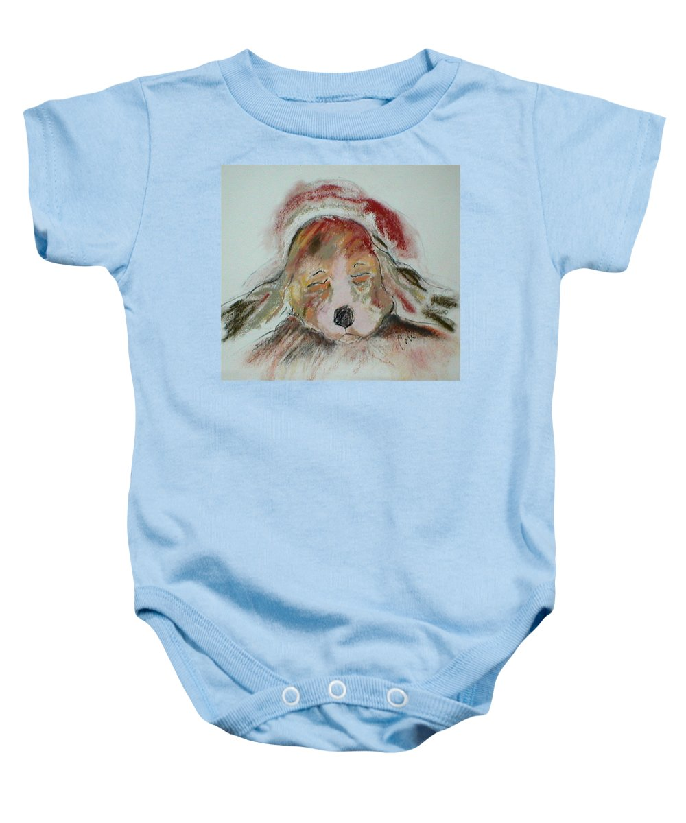 Pastel Baby Onesie featuring the drawing Blissful Dreams II by Cori Solomon