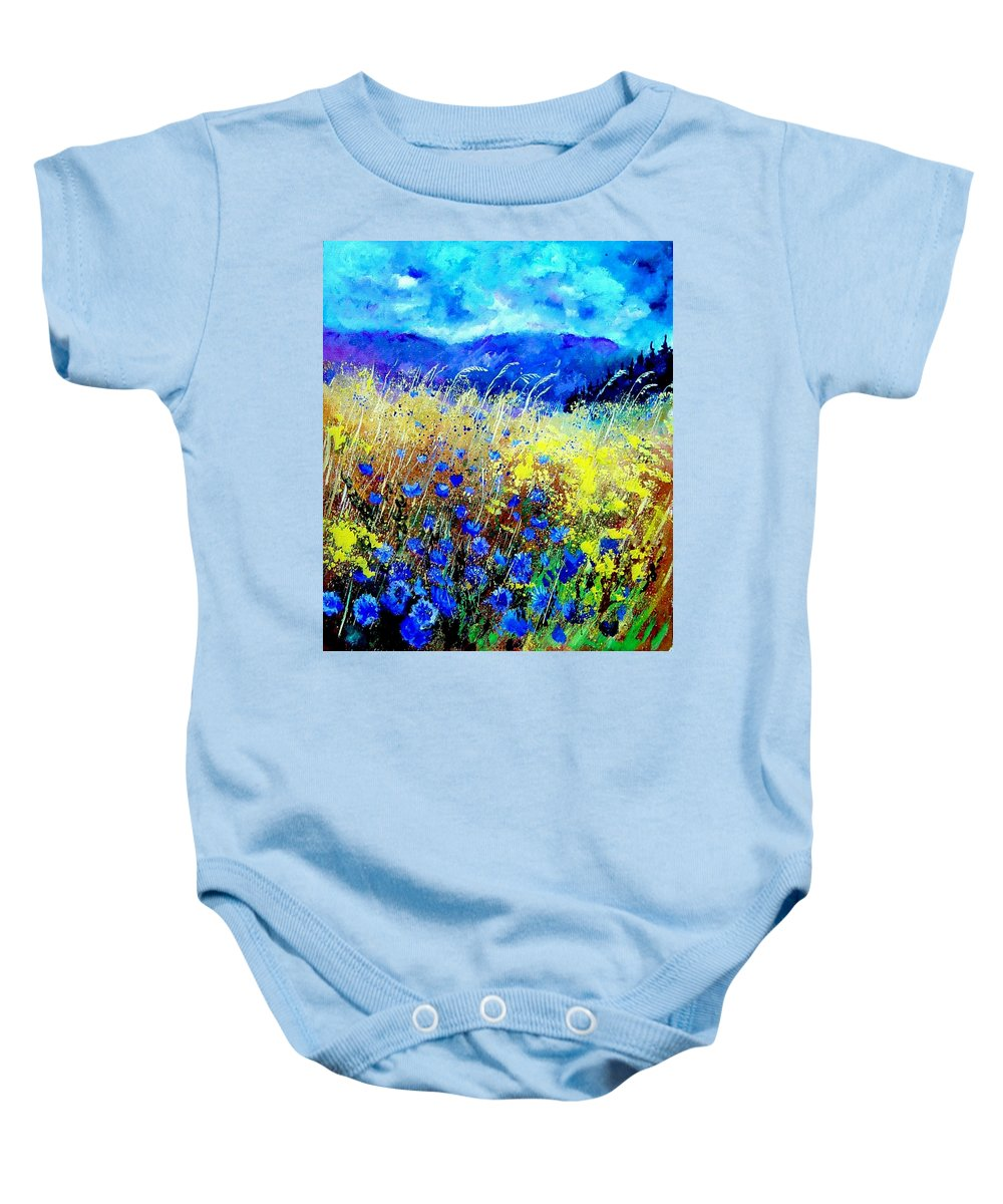 Poppies Baby Onesie featuring the painting Blue cornflowers 67 by Pol Ledent