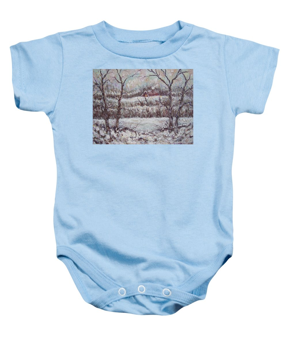 Landscape Baby Onesie featuring the painting Cold Winter by Natalie Holland