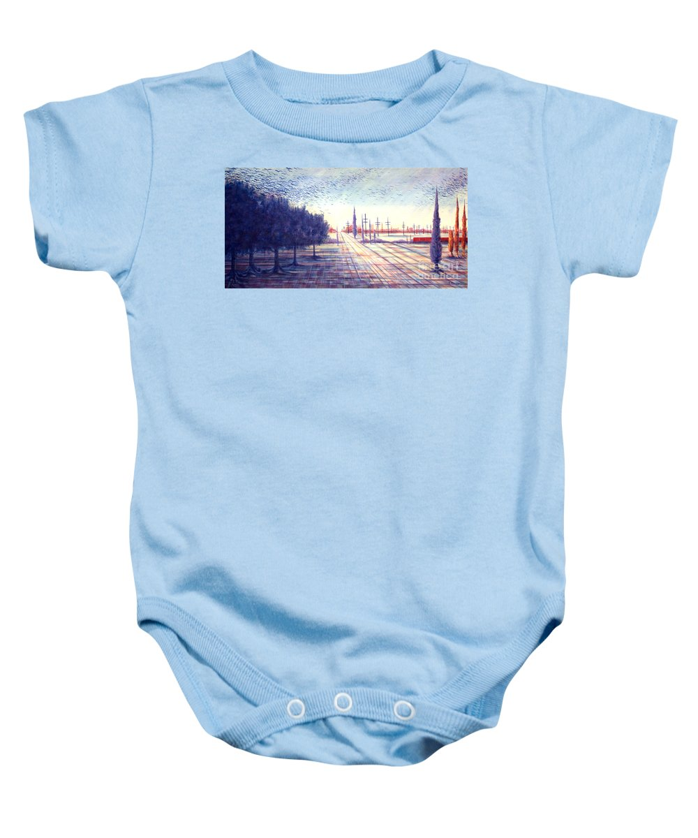 Crows Baby Onesie featuring the painting Crows by Judy Henninger
