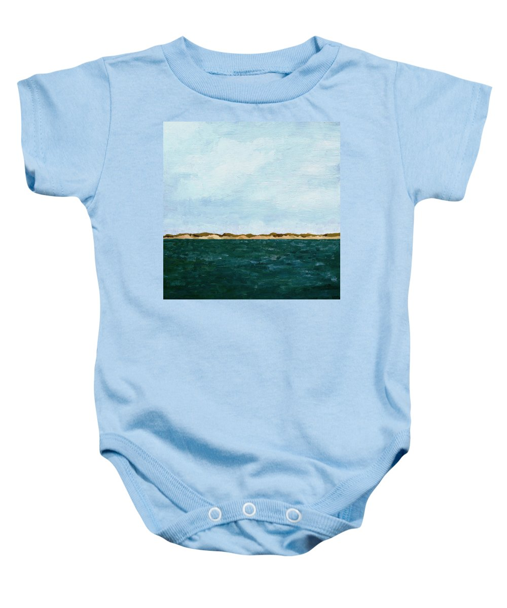 Lake Baby Onesie featuring the painting Dunes of Lake Michigan with Big Sky by Michelle Calkins