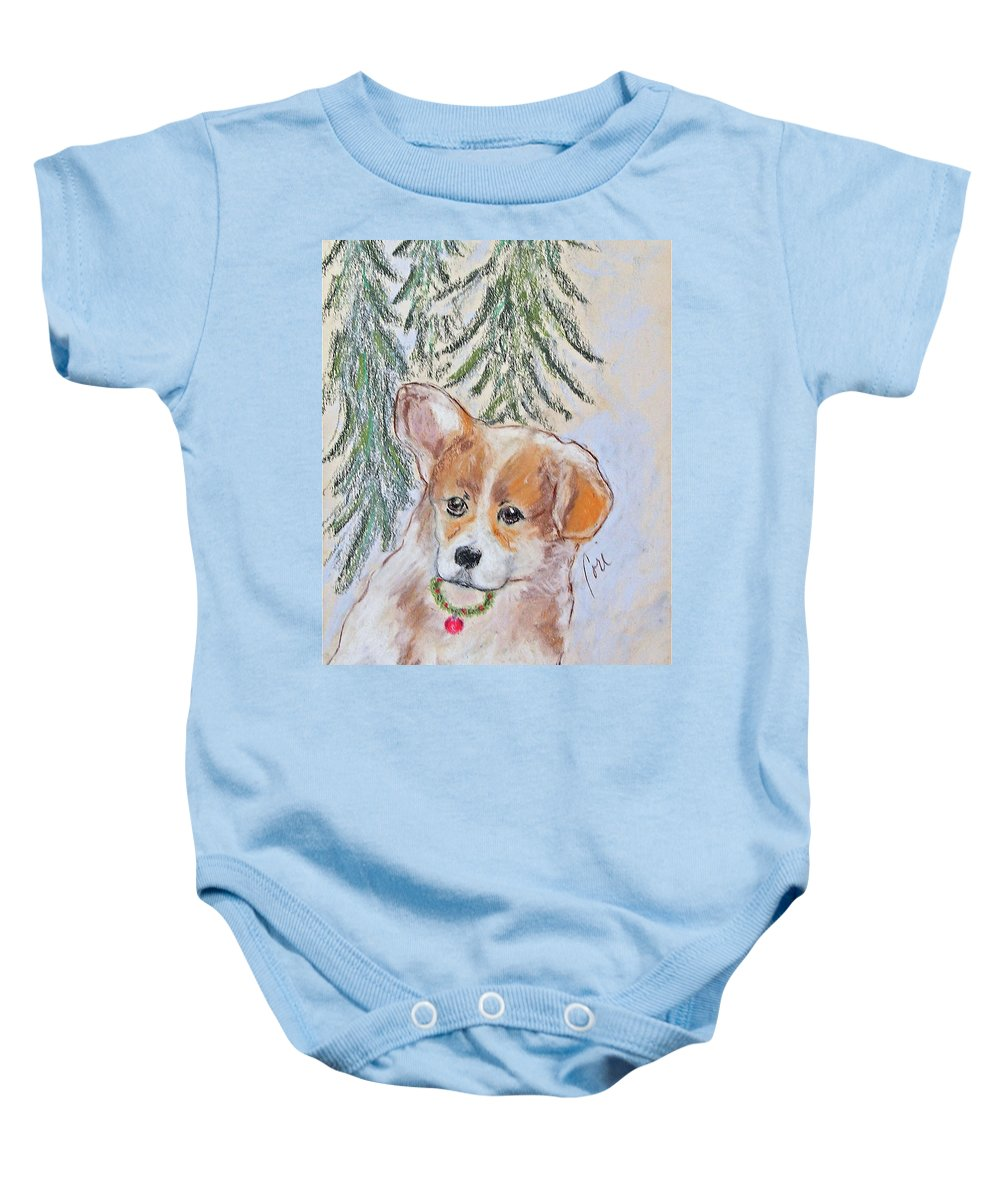 Pastel Baby Onesie featuring the drawing First Christmas by Cori Solomon