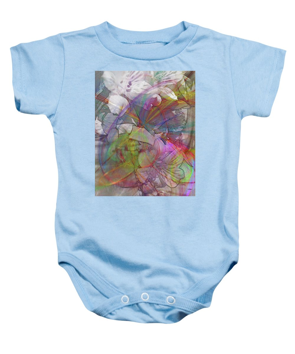 Floral Fantasy Baby Onesie featuring the digital art Floral Fantasy by John Robert Beck
