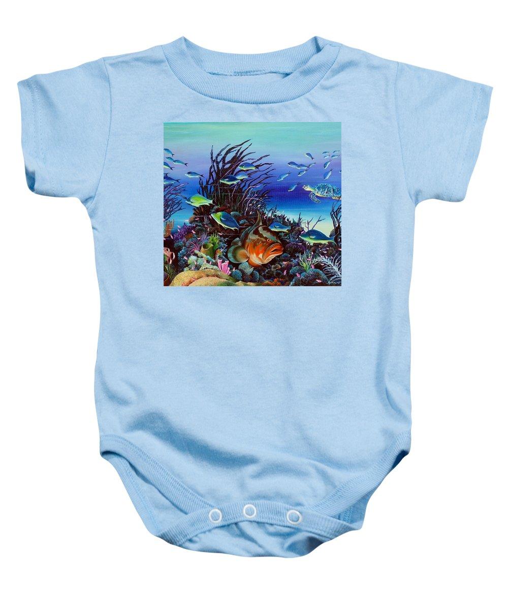 Ocean Painting Caribbean Painting Underwater Painting Coral Reef Painting Baby Onesie featuring the painting Grumpy Grouper by Karin Dawn Kelshall- Best
