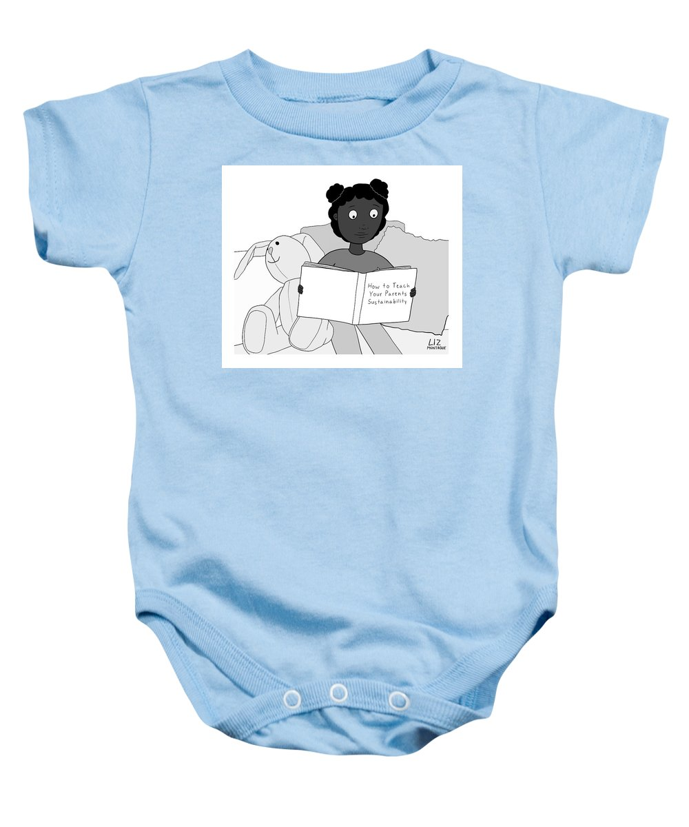 Captionless Baby Onesie featuring the drawing How To Teach Your Parents by Liz Montague