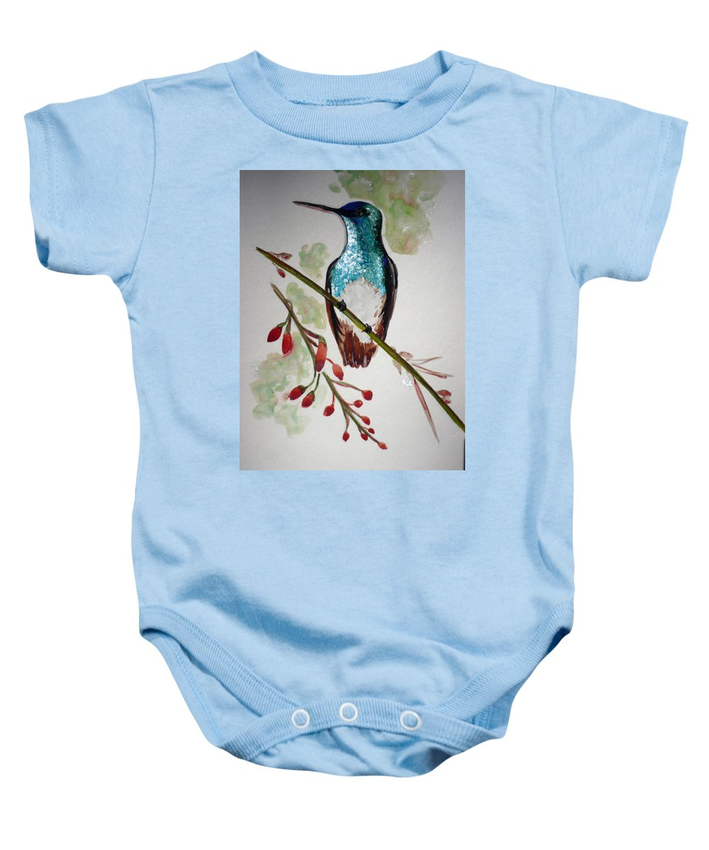 Hummingbird Painting Bird Painting Caribbean Painting Baby Onesie featuring the painting Hummingbird 3 by Karin Dawn Kelshall- Best