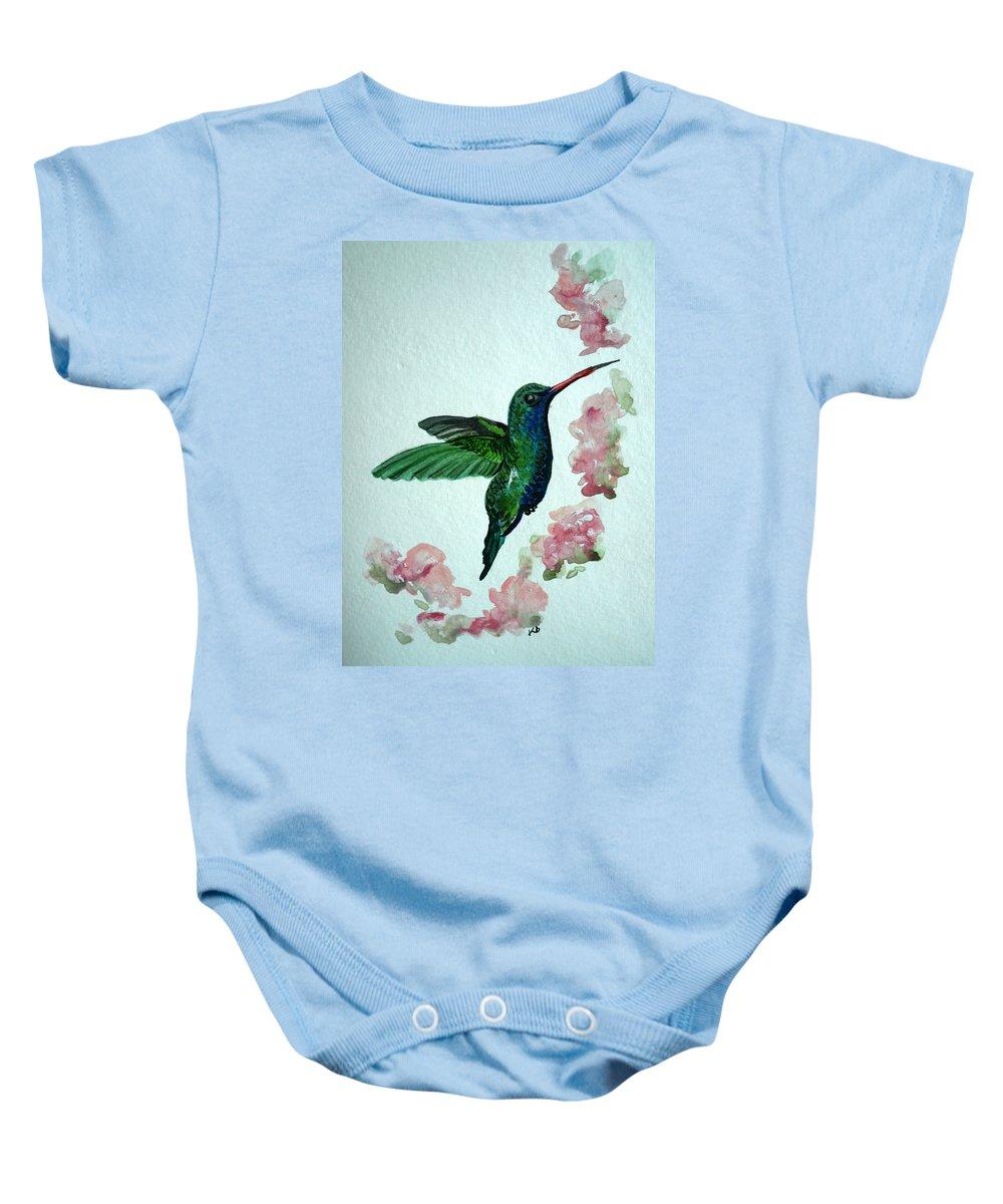 Hummingbird Painting Tropical Bird Green Bird Painting Baby Onesie featuring the painting Hummingbird 4 by Karin Dawn Kelshall- Best
