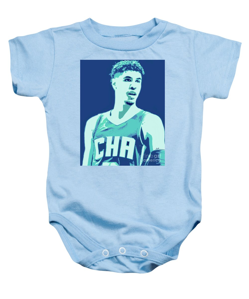 Lamelo Baby Onesie featuring the painting LaMelo Ball by Jack Bunds