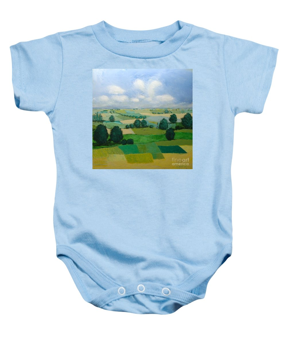 Landscape Baby Onesie featuring the painting Morning Calm by Allan P Friedlander
