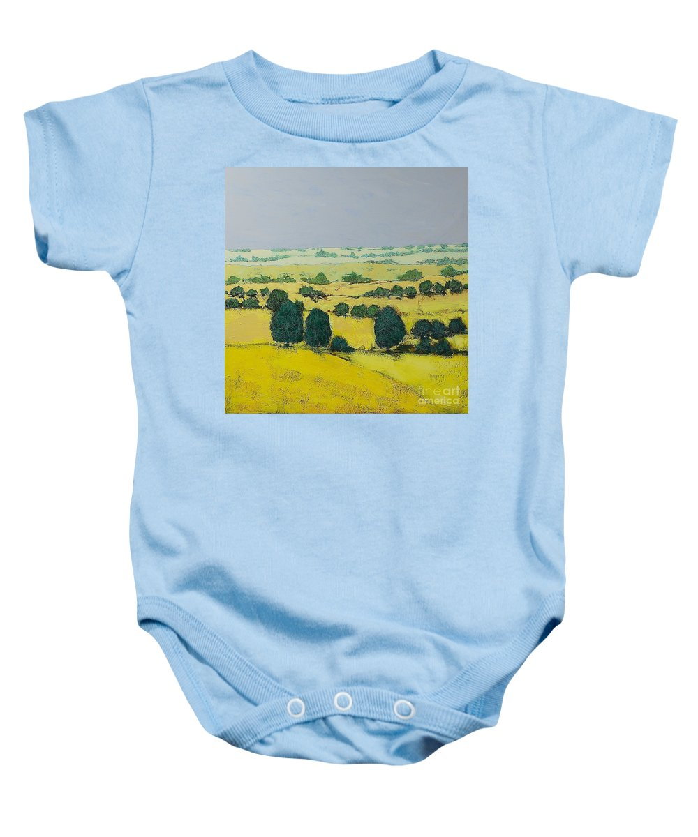 Landscape Baby Onesie featuring the painting Next Hill by Allan P Friedlander
