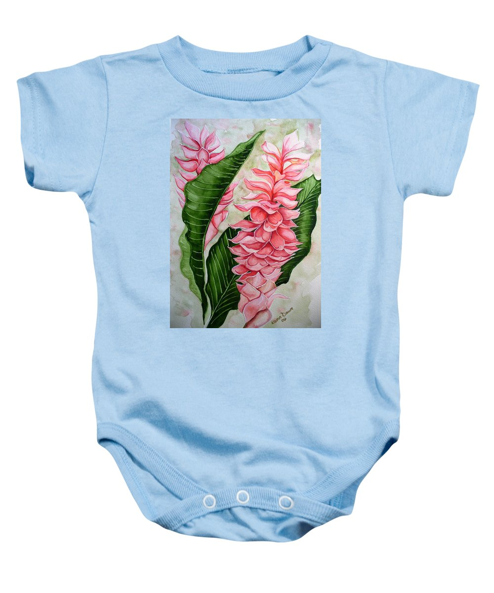 Flower Painting Floral Painting Botanical Painting Ginger Lily Painting Original Watercolor Painting Caribbean Painting Tropical Painting Baby Onesie featuring the painting Pink Ginger Lilies by Karin Dawn Kelshall- Best