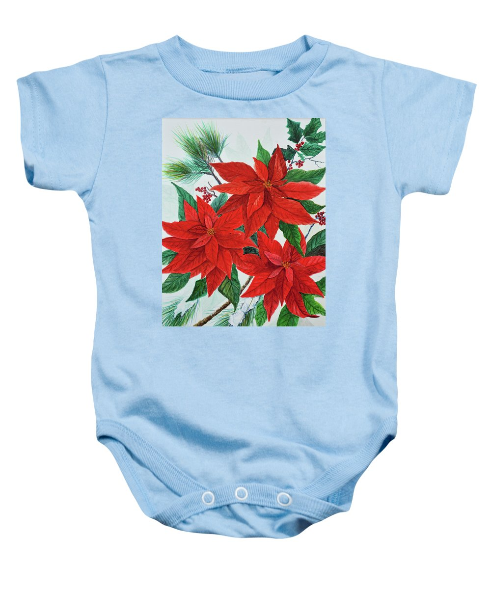 Poinsettias Baby Onesie featuring the painting Poinsettias by Ben Kiger