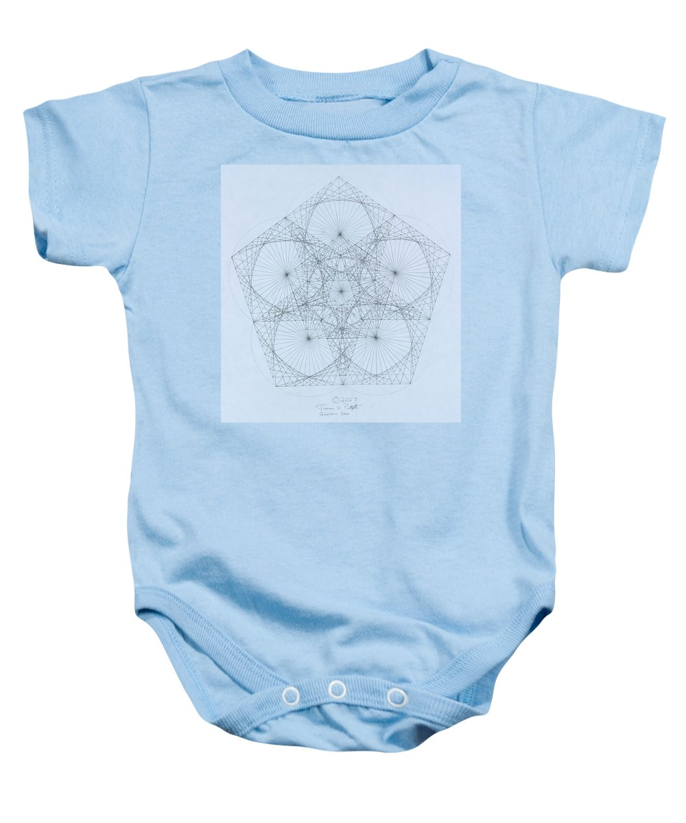 Star Baby Onesie featuring the drawing Quantum Star high res. by Jason Padgett