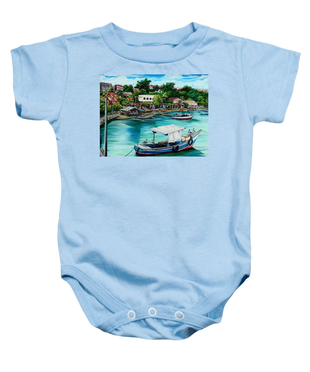 Ocean Painting Sea Scape Painting Fishing Boat Painting Fishing Village Painting Sanfernando Trinidad Painting Boats Painting Caribbean Painting Original Oil Painting Of The Main Southern Town In Trinidad  Artist Pob Baby Onesie featuring the painting Sanfernando Wharf by Karin Dawn Kelshall- Best