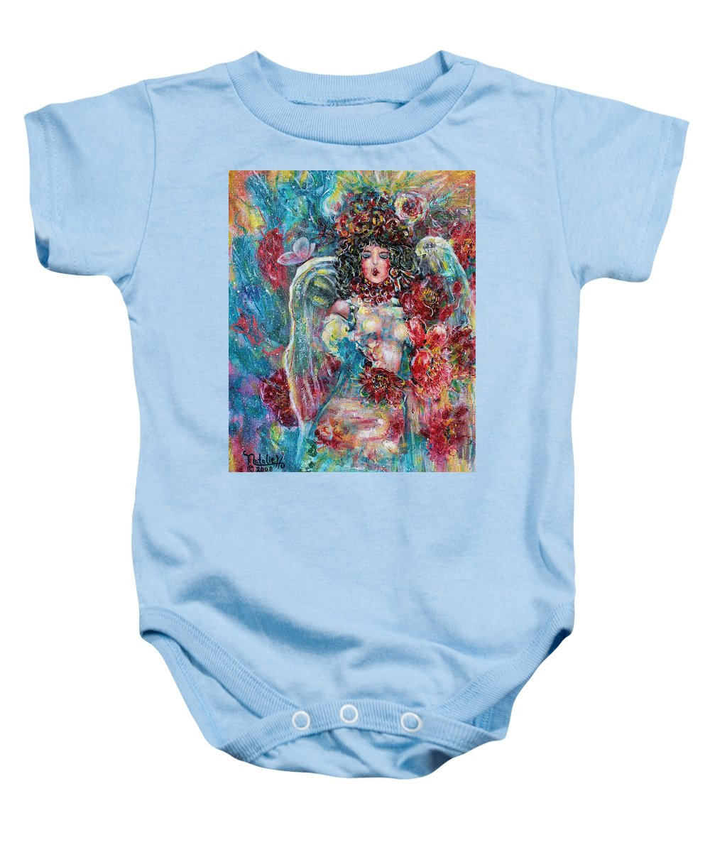 Angels Baby Onesie featuring the painting Secret Garden Singing Angel 8 by Natalie Holland
