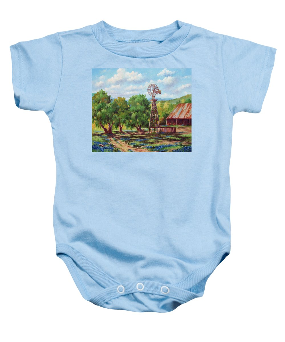 Landscape Baby Onesie featuring the painting Shadows In The Farmyard by David G Paul