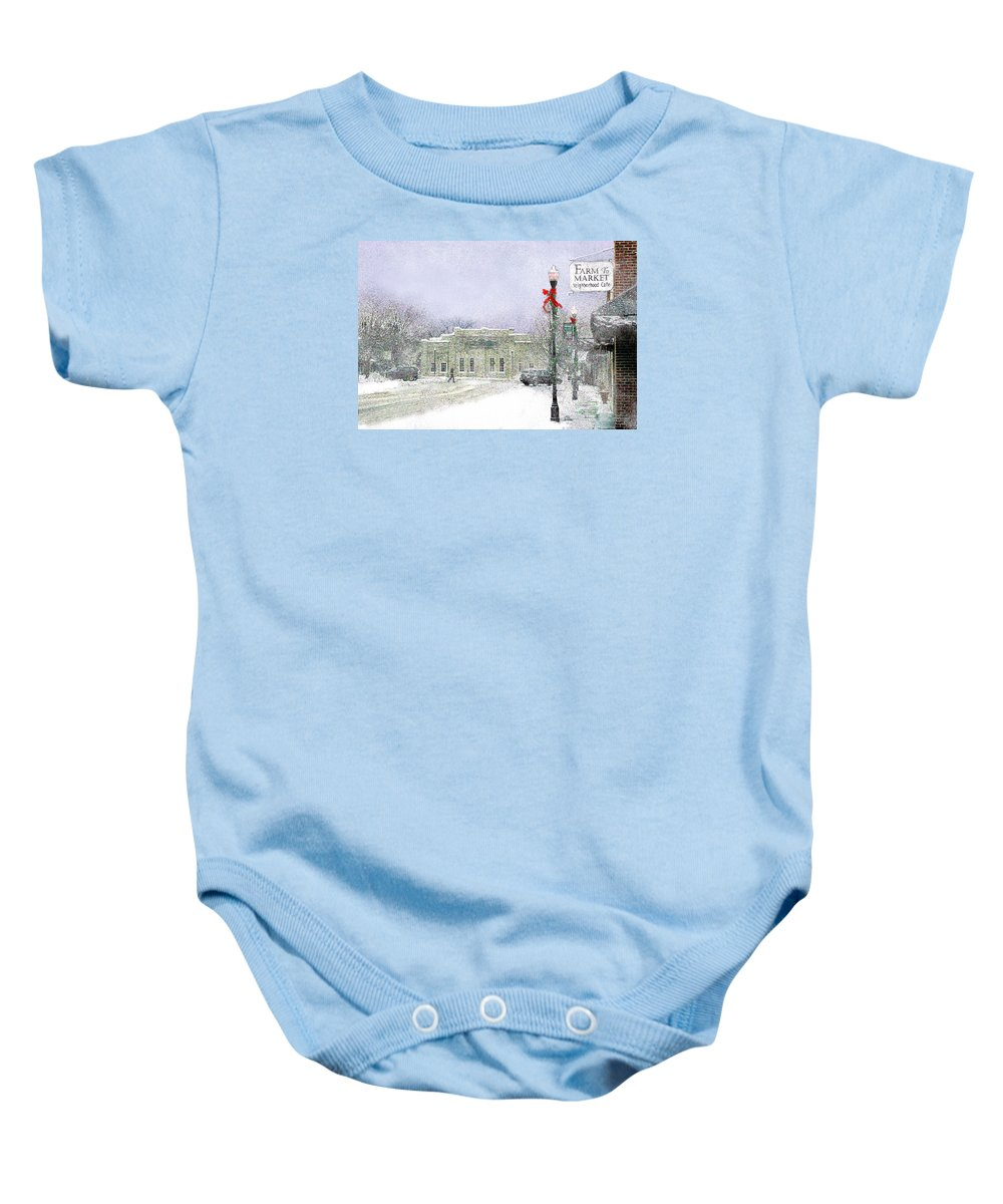 Snow Scene Baby Onesie featuring the photograph Strang Car Barn in Winter by Steve Karol