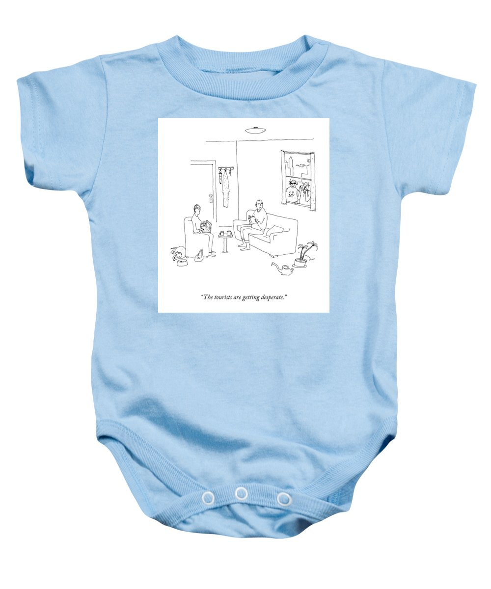 The Tourists Are Getting Desperate. New York Baby Onesie featuring the drawing Tourists Are Getting Desperate. by Liana Finck