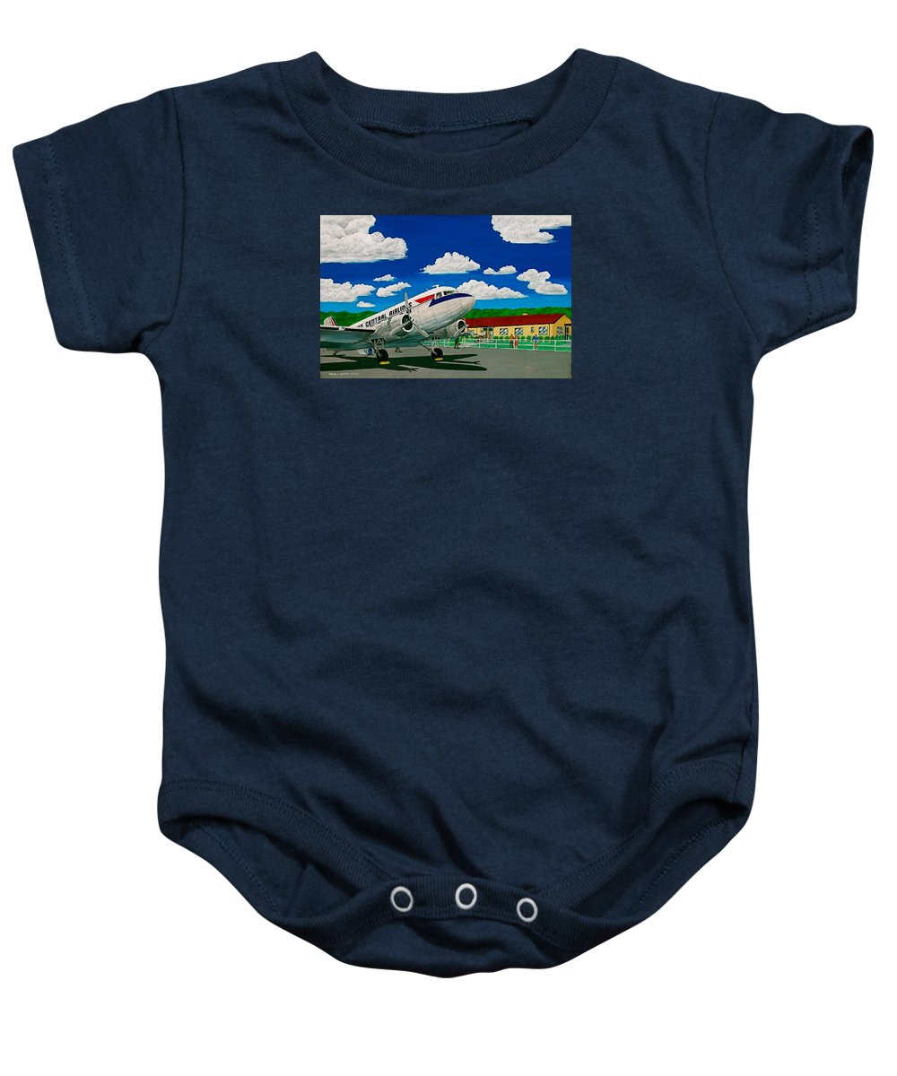 Lake Central Airlines Portsmouth Ohio Scioto County Airport Baby Onesie featuring the painting Portsmouth Ohio Airport And Lake Central Airlines by Frank Hunter