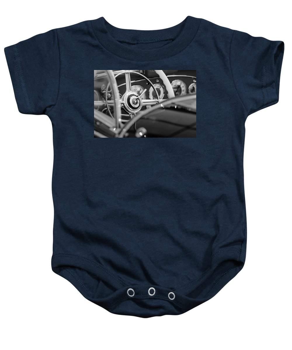 1936 Mercedes-benz 540 Special Roadster Steering Wheel Baby Onesie featuring the photograph 1936 Mercedes-benz 540 Special Roadster Steering Wheel by Jill Reger
