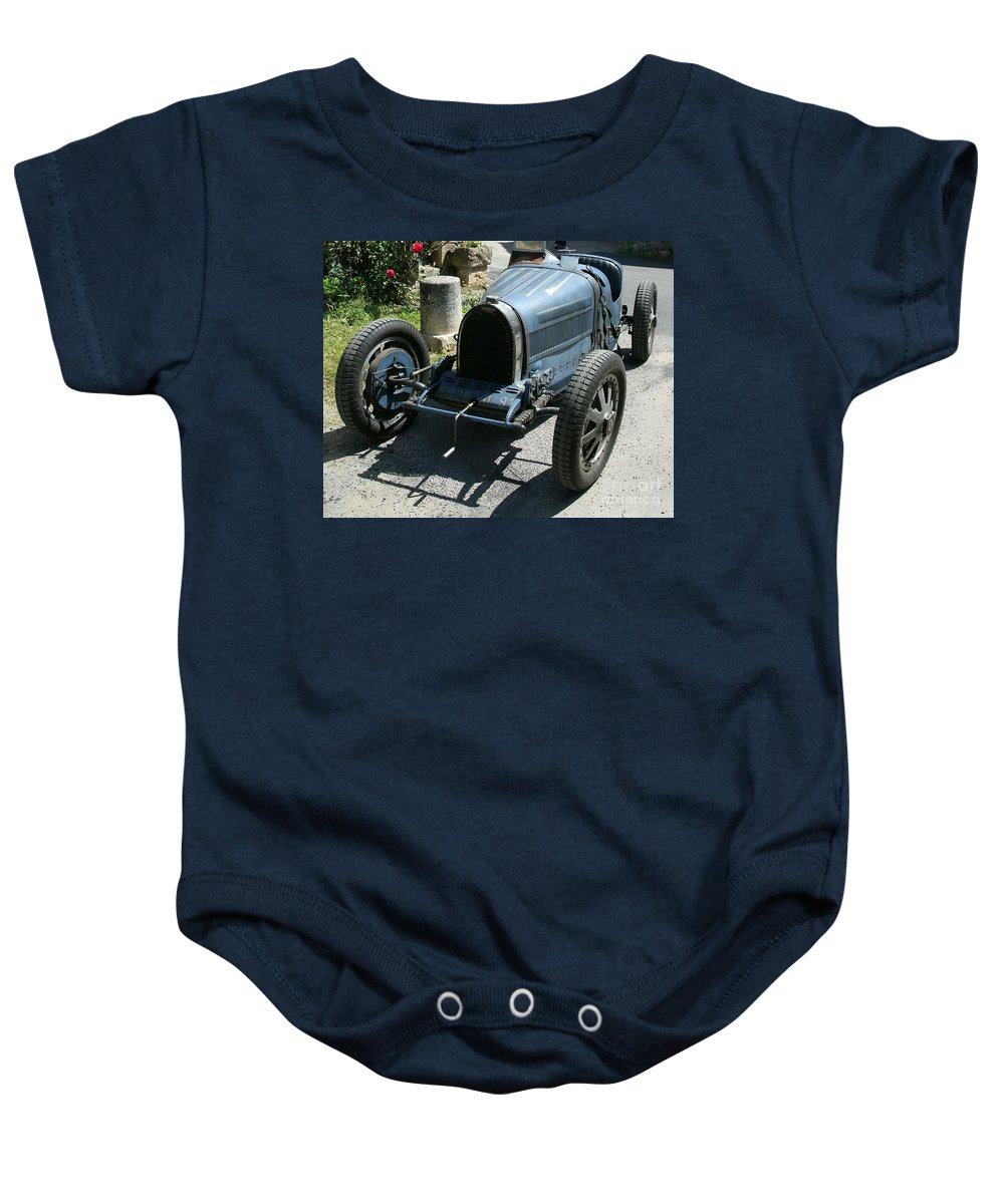 Oldtimer Baby Onesie featuring the photograph Blue Bugatti Oldtimer by Christiane Schulze Art And Photography