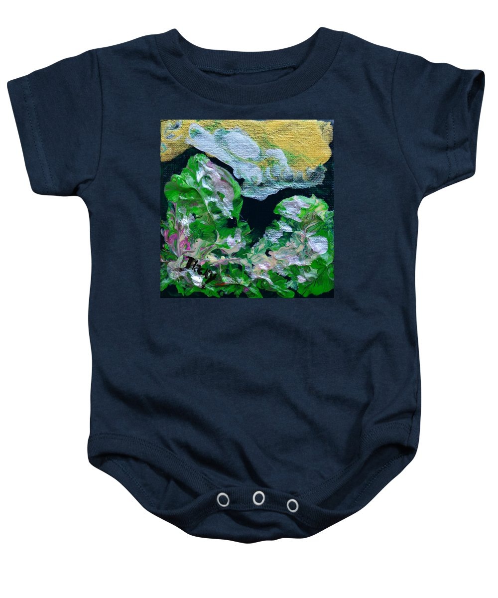 Bold Abstract Baby Onesie featuring the painting Crystal Reef by Donna Blackhall