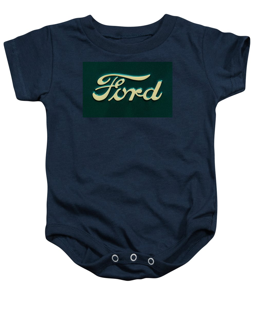 Ford Emblem Baby Onesie featuring the photograph Ford Emblem by Jill Reger