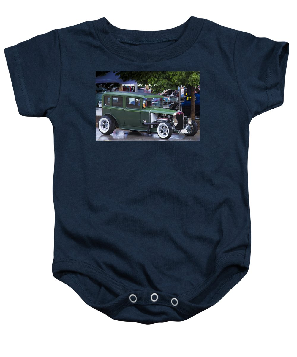 American Baby Onesie featuring the photograph Green Limo by Jack R Perry