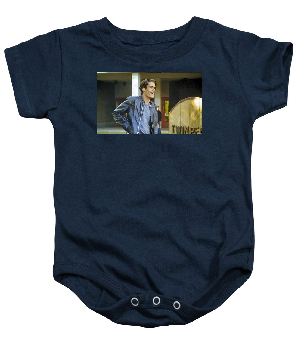 Laura Palmer Baby Onesie featuring the painting I Love You Babe by Luis Ludzska
