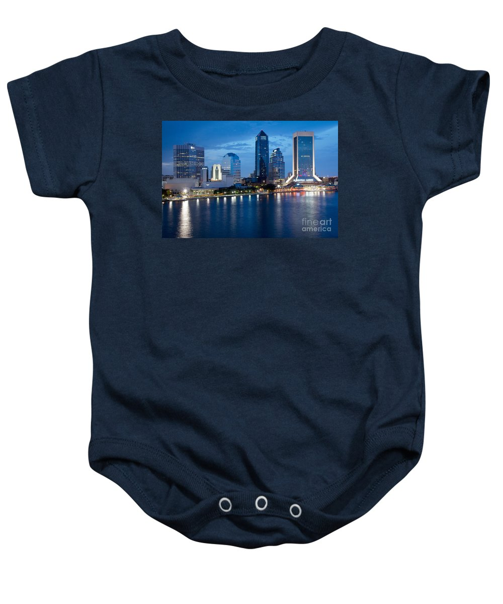 Florida Baby Onesie featuring the photograph Jacksonville Skyline At Dusk by Bill Cobb