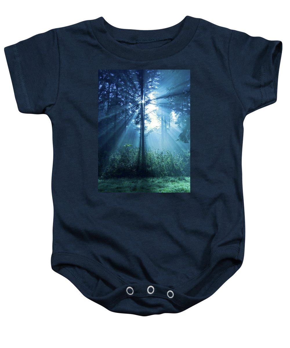 Nature Baby Onesie featuring the photograph Magical Light by Daniel Csoka