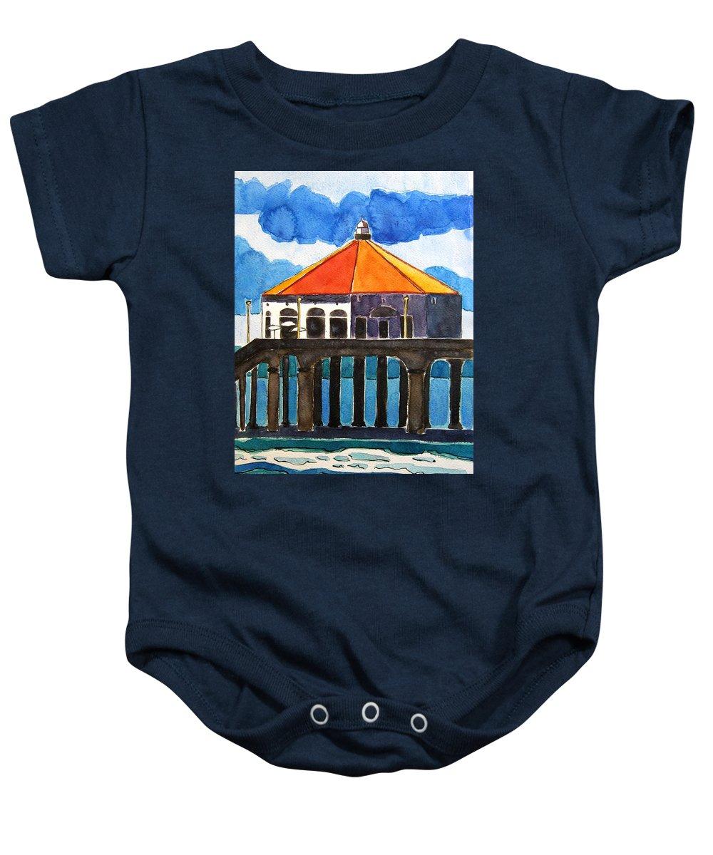Manhattan Beach Baby Onesie featuring the painting Manhattan Beach California by Lesley Giles