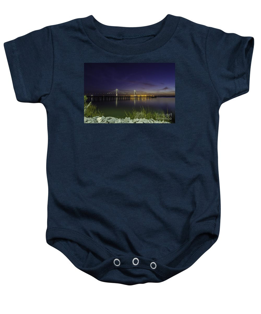 Bridge Baby Onesie featuring the photograph Rocky Shore In Charleston Sc by Dale Powell