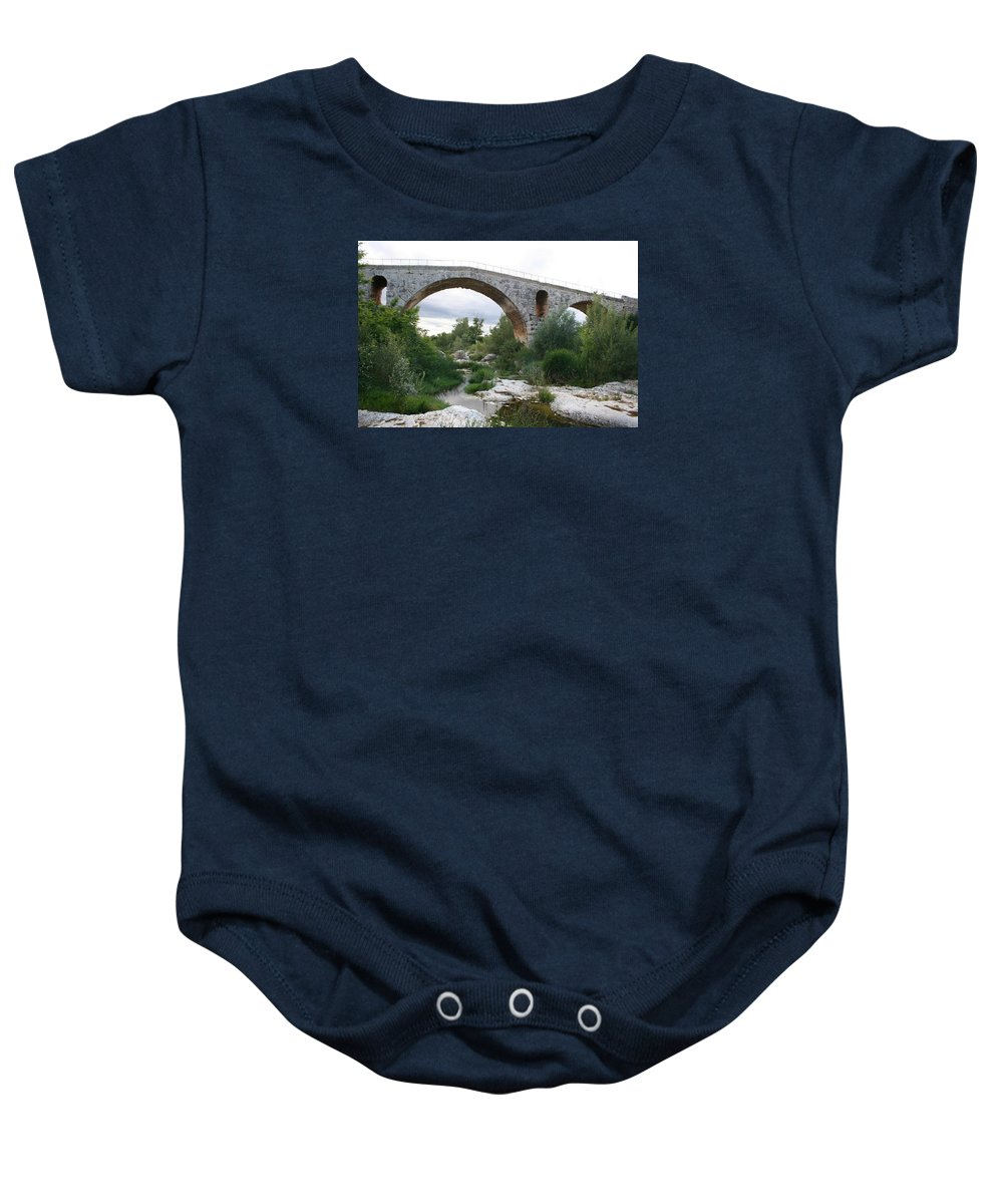 Roman Stonebridge Baby Onesie featuring the photograph Roman Arch Bridge Pont St. Julien by Christiane Schulze Art And Photography