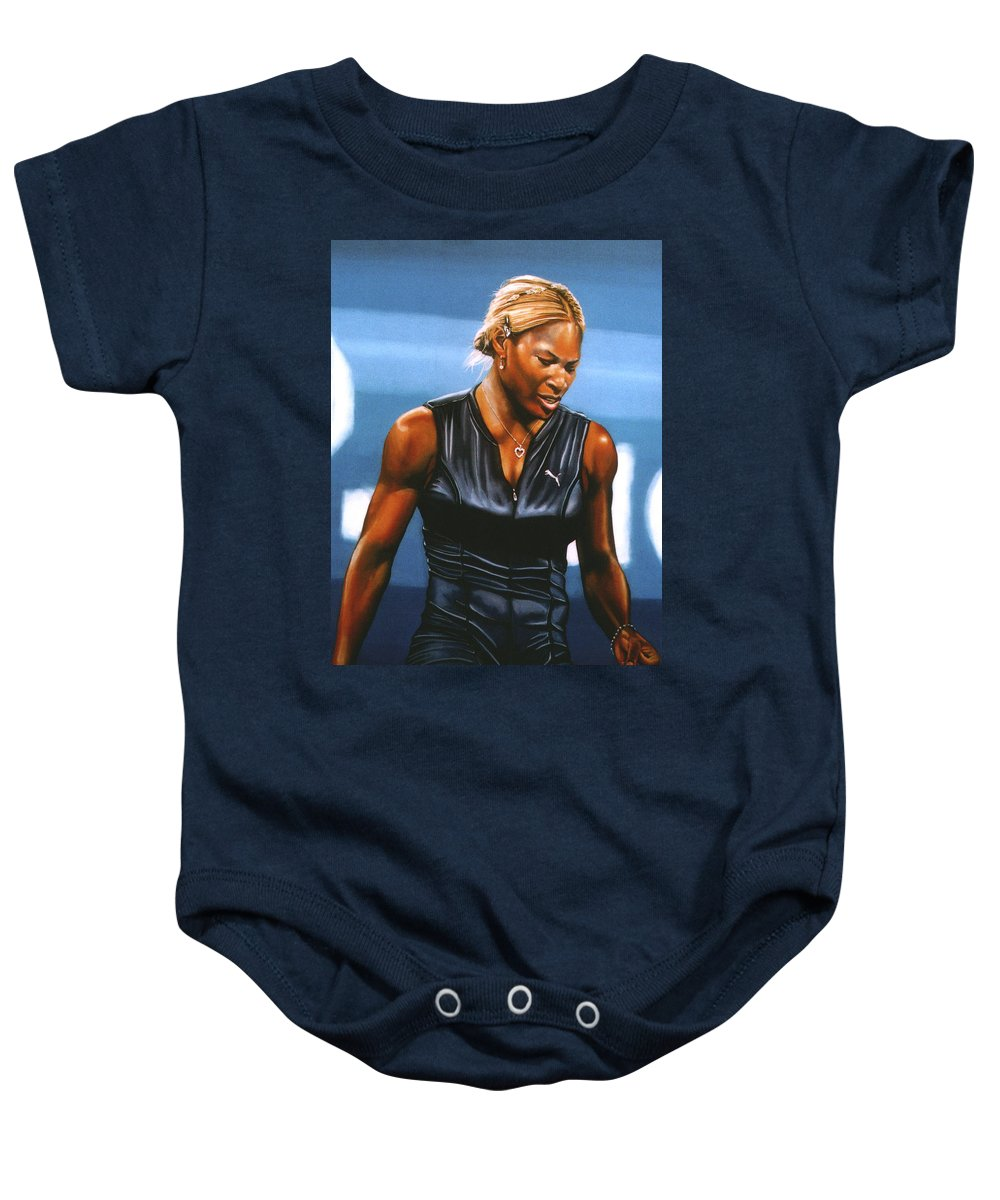 Serena williams onesie for sale by paul meijering serena williams baby onesie featuring the painting serena williams by paul meijering nvjuhfo Image collections